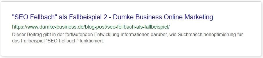 "Meta Daten nachher für Dumke Business Fallbeispiel 2 ""SEO Fellbach"""