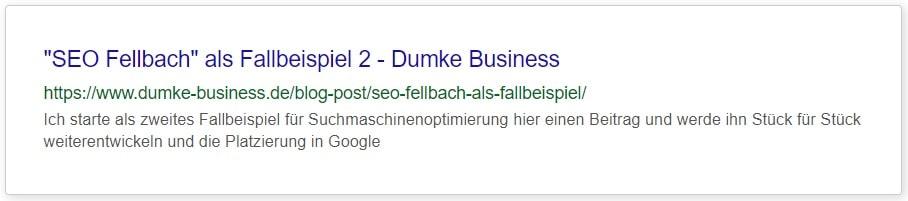 """Meta Daten vorher für Dumke Business Fallbeispiel 2 """"SEO Fellbach"""""""