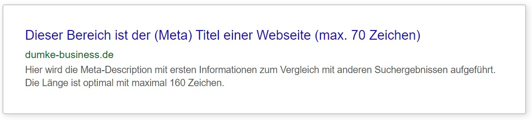 dumke business erklärung meta titel und description